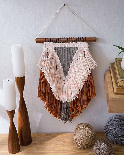 Triangle Weave Project. Learn to Make Woven Wall Hangings Leisure Arts Review by Rhondda Oombawka Design Crochet