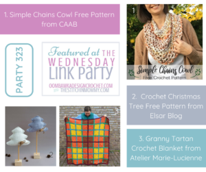 Wednesday Link Party 323 Featured Favorites Simple Chains Cowl DIY Crochet Christmas Trees and Granny Tartan Blanket