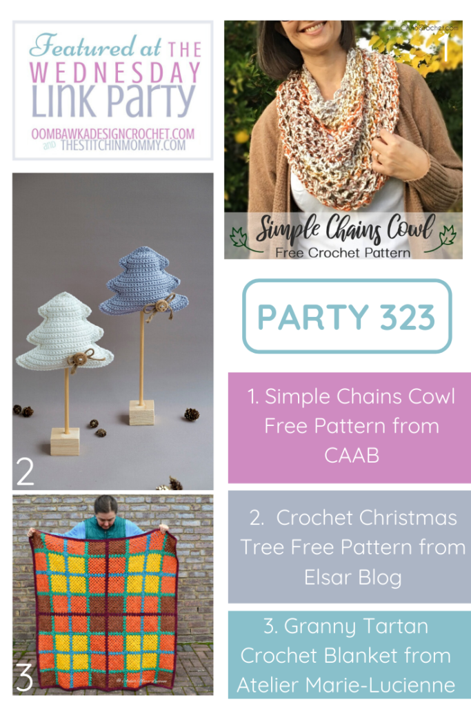 Wednesday Link Party 323 Featured Favorites Simple Chains Cowl DIY Crochet Christmas Trees and Granny Tartan Blanket PIN this