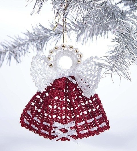 Beads and Bows Angels Pattern Retro Christmas Ornament Patterns From Leisure Arts Review by Rhondda at Oombawka Design Crochet