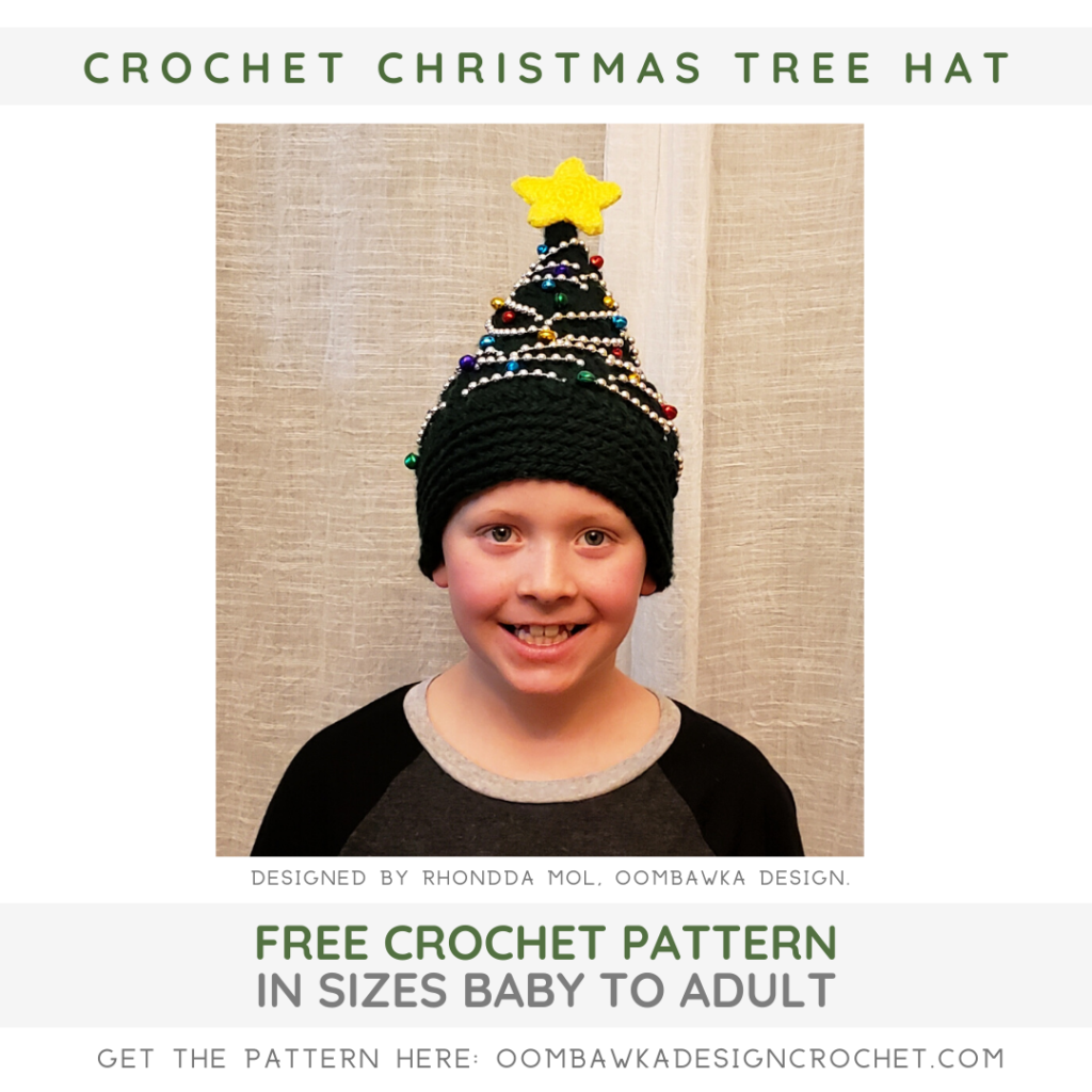 Free Crochet Christmas Tree Hat Pattern from Rhondda at Oombawka Design Crochet crochetersofig