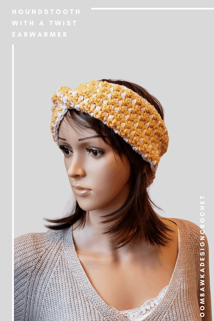 Kathleen Headband. Houndstooth with a Twist Earwarmer Pattern.