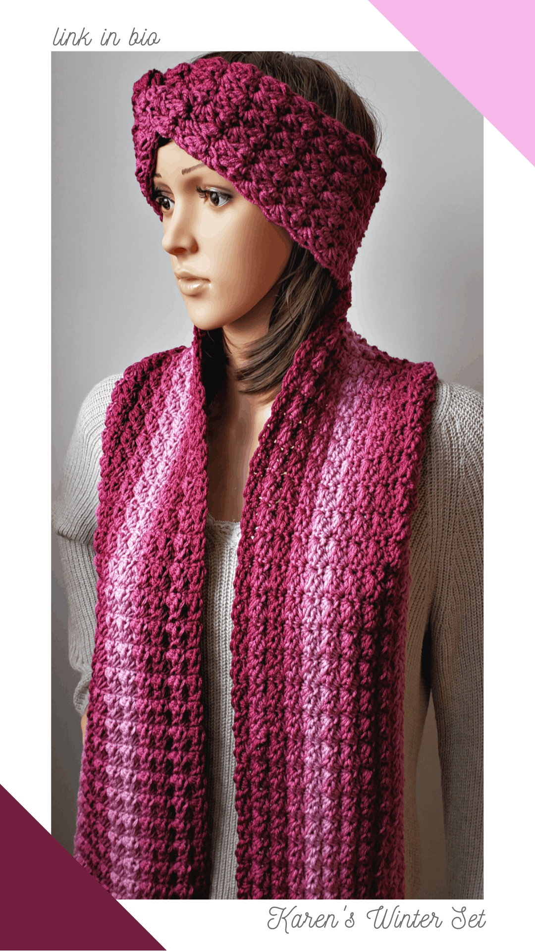 Karen\'s Winter Headband Crochet Pattern is made with medium weight yarn [4] and a 5.5 mm (I) hook. This free pattern was designed to match Karen\'s Winter Scarf and to be worn as a crocheted set. The pretty textured stitches are easy to crochet and only take single crochet, half double crochet and double crochet stitches.