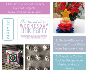 Wednesday Link Party 325 Featured Favorites Christmas Crochet Fever Christmas Throw Pillow Chocolate Crinkle Cookies Recipe FB