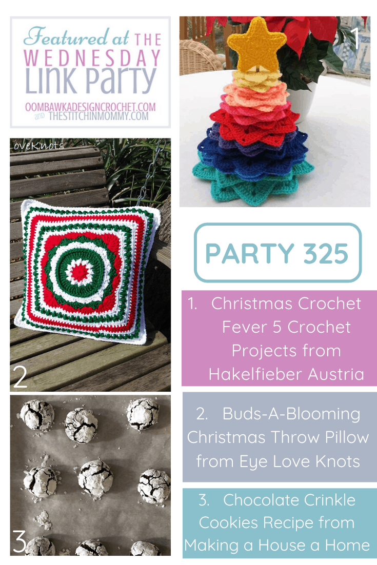 Wednesday Link Party 325 Featured Favorites: Christmas Crochet Fever (5 Crochet Projects), Christmas Throw Pillow (Free Crochet Patterns) and a Chocolate Crinkle Cookies Recipe (Yum!).
