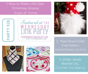Wednesday Link Party 328 Featured Favorites Christmas Gnome, Plaid Shawl Collar and Winter Jewels CAL FB