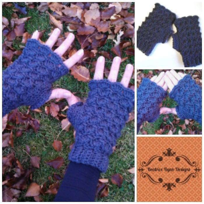 Shells & Bobbles Fingerless Gloves Pattern
