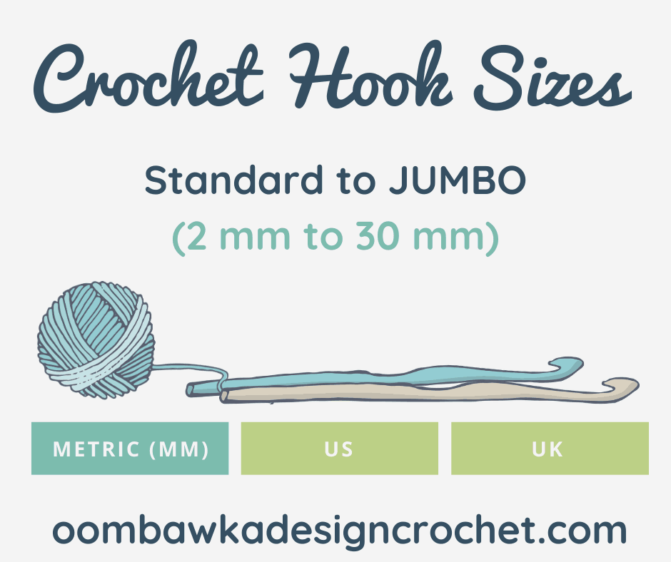 2020 Crochet Hook Sizes US UK Metric