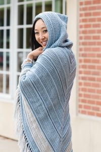 Blue Sage Hooded Shawl