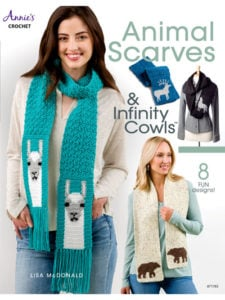 Cover Animal Scarves and Infinity Cowls from Annie's Craft Store. Review Oombawka Design Crochet