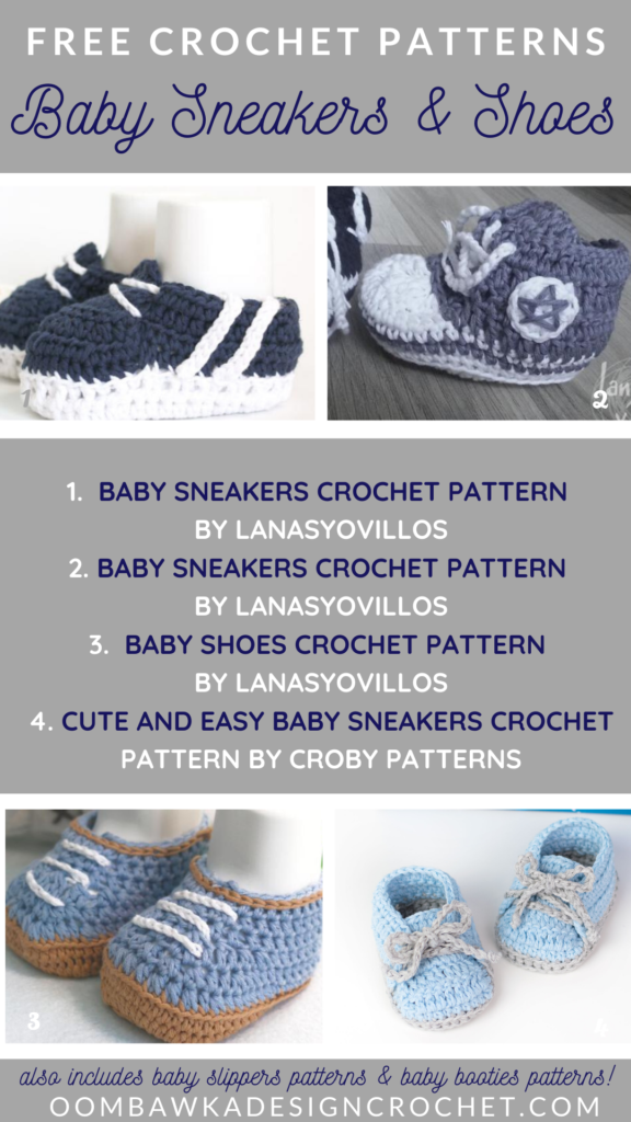 Free Baby Sneakers Crochet Patterns Roundup by Oombawka Design Crochet