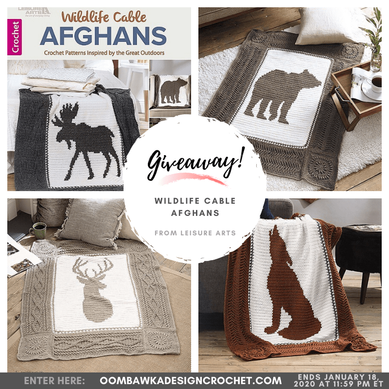 Giveaway Wildlife Cable Afghans eBook from Leisure Arts ends Jan 18 2020
