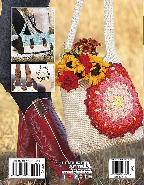 Back Cover Image Mandala Bag and Mod Satchel Pictured. Rucksacks and Backpacks from Leisure Arts Book Review by Rhondda Mol