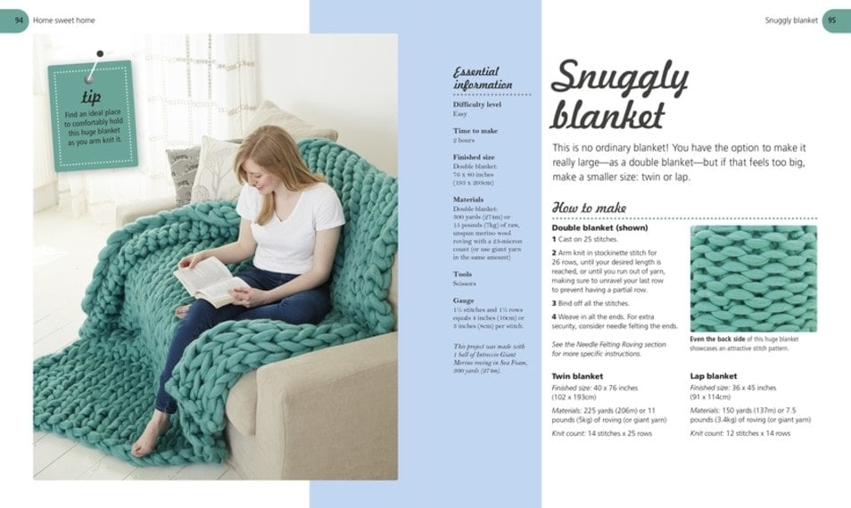 Snuggly Blanket - Arm Knitting Book Review DK Canada