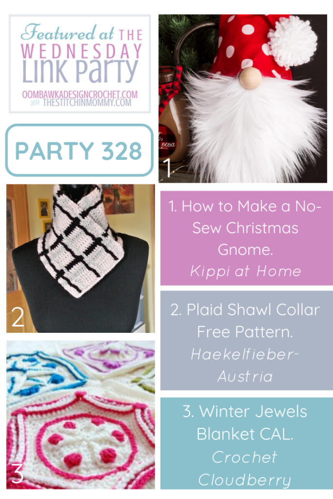 Wednesday Link Party 328 Featured Favorites Christmas Gnome, Plaid Shawl Collar and Winter Jewels CAL