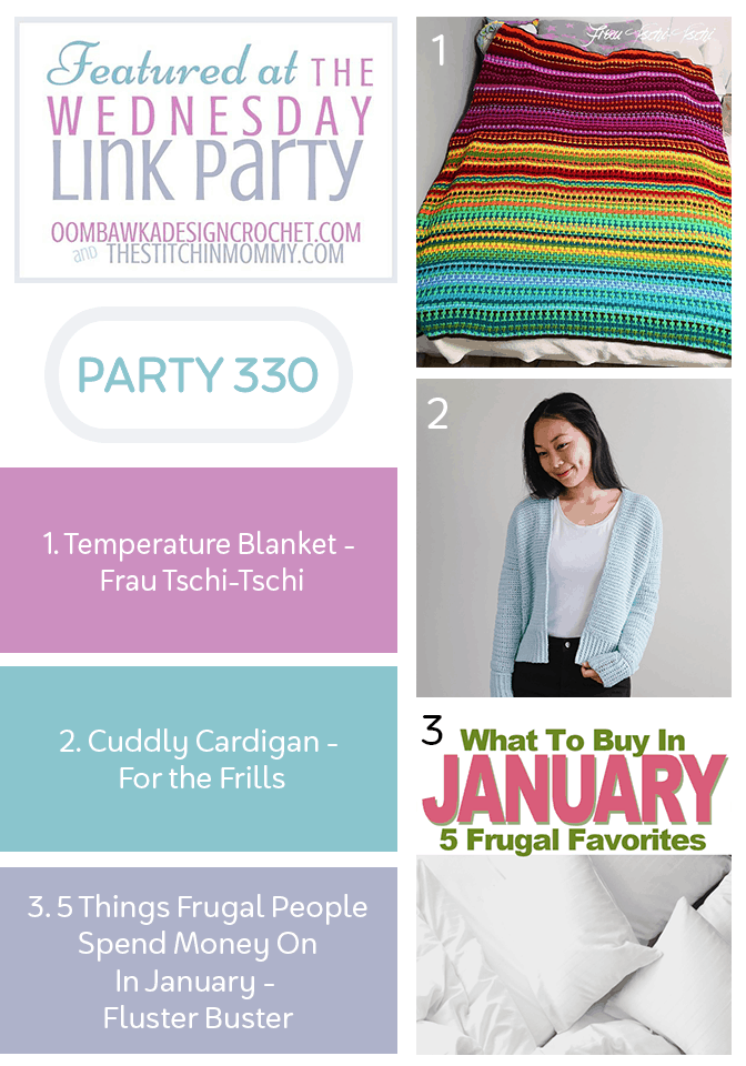 Wednesday Link Party 330 Features Beautiful Temperature Blanket, Cuddly Cardigan and Frugal People Spend Money On