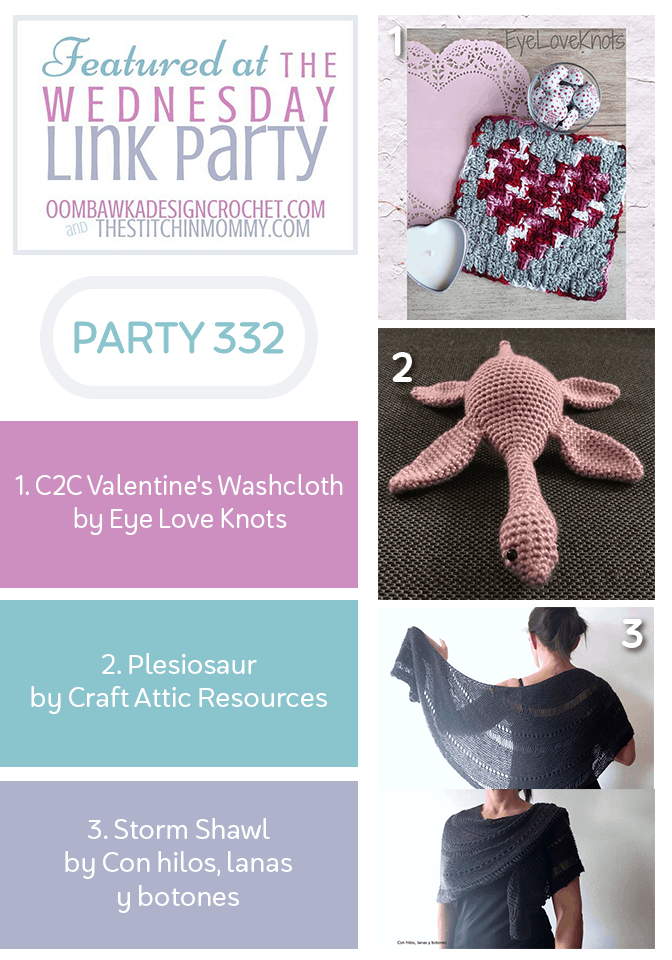 Wednesday Link Party 332 Features Valentine's Washcloth, Storm Shawl and Plesiosaur