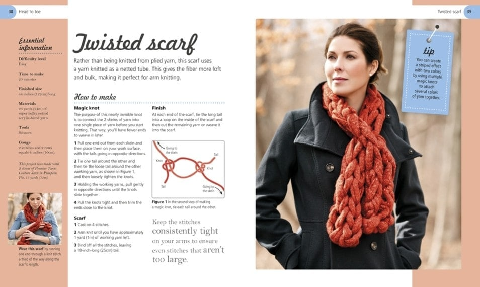 Twisted Scarf - Arm Knitting - Book Review from DK Canada