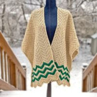 Featured at Wednesday Link Party 333 Chevron-Stripes-Ruana-pin