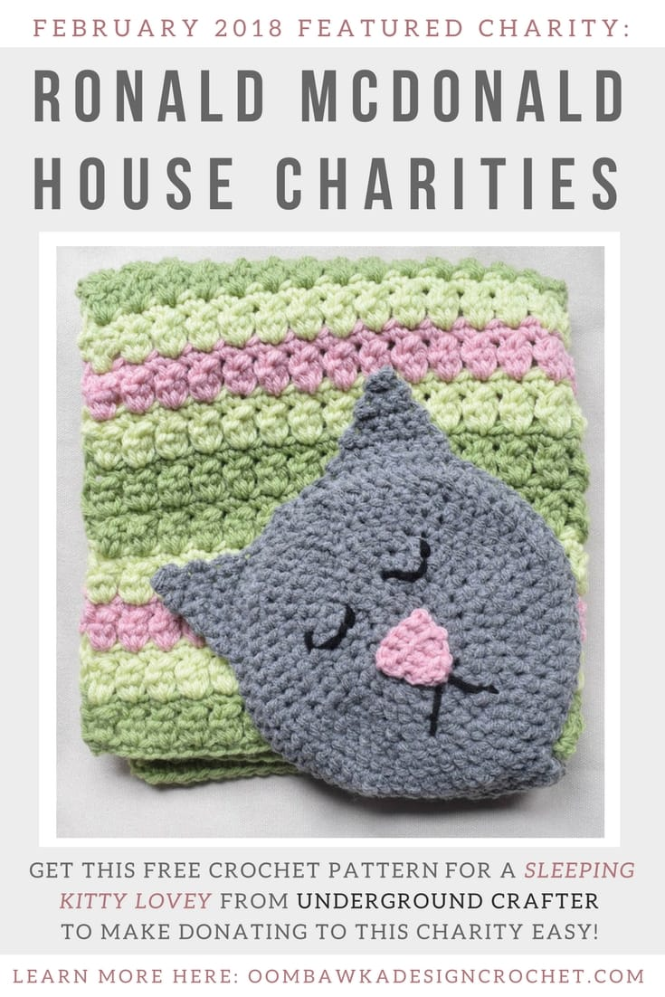 February 2018 Featured Charity: Ronald McDonald House. Presented by Marie of Underground Crafter for Oombawka Design Crochet Charity Project
