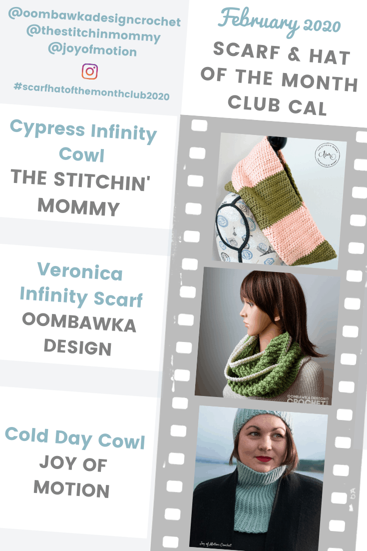 The Scarf of the Month Club 2020 Patterns for February are now available! Join our Monthly CAL to make 3 brand new scarf designs every month in 2020! #scarfhatofthemonthclub2020 #freepatterns #crochet #CAL #crochetalong #2020CAL #redheartyarn #joycreators #yarnspirations