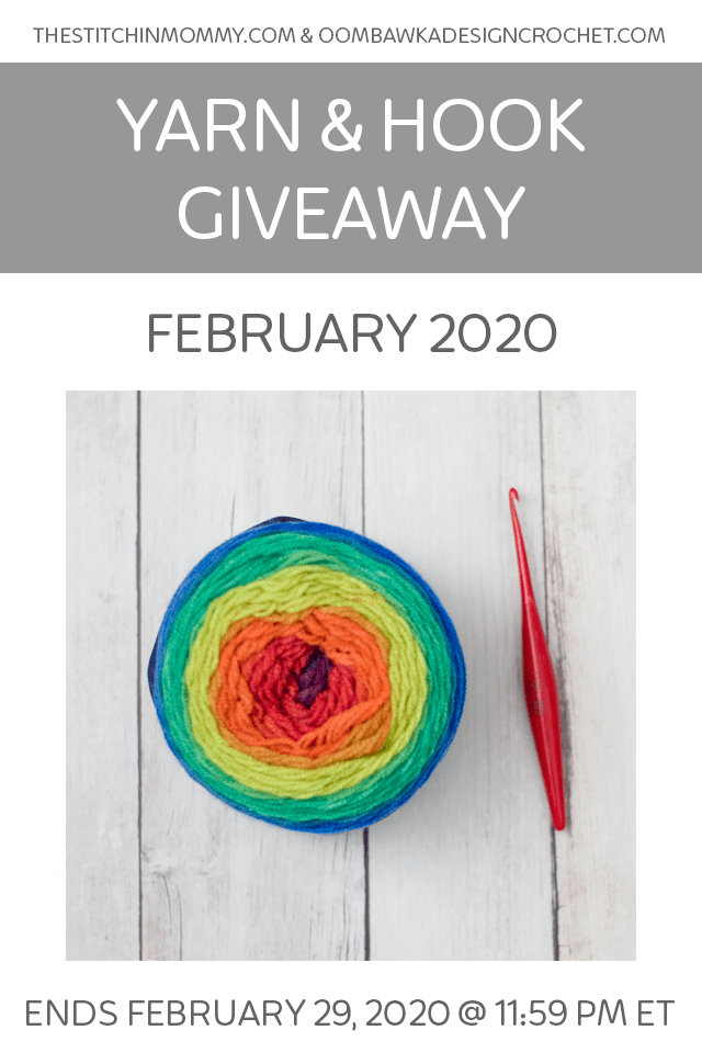 February 2020 Yarn and Hook Giveaway. Monthly Yarn and Hook Giveaway from Oombawka Design Crochet and The Stitchin' Mommy