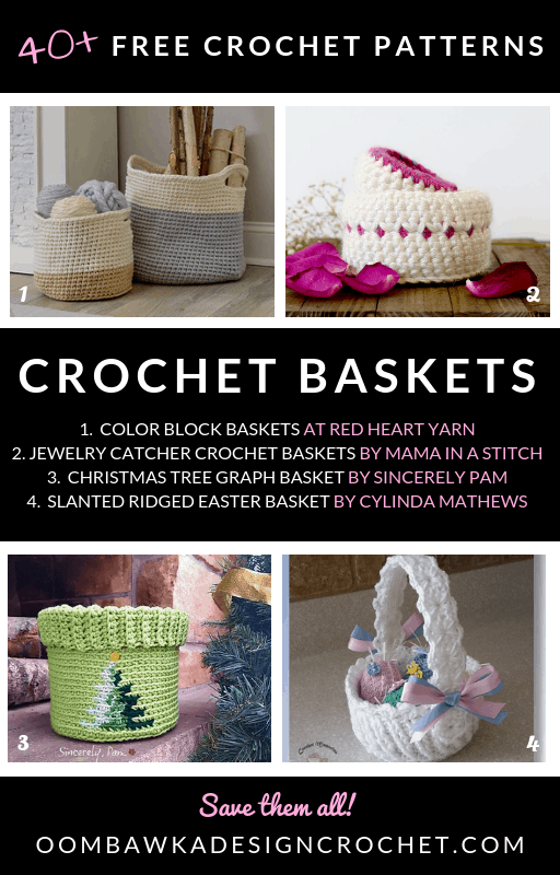 Free Crochet Basket Patterns Roundup at Oombawka Design Crochet