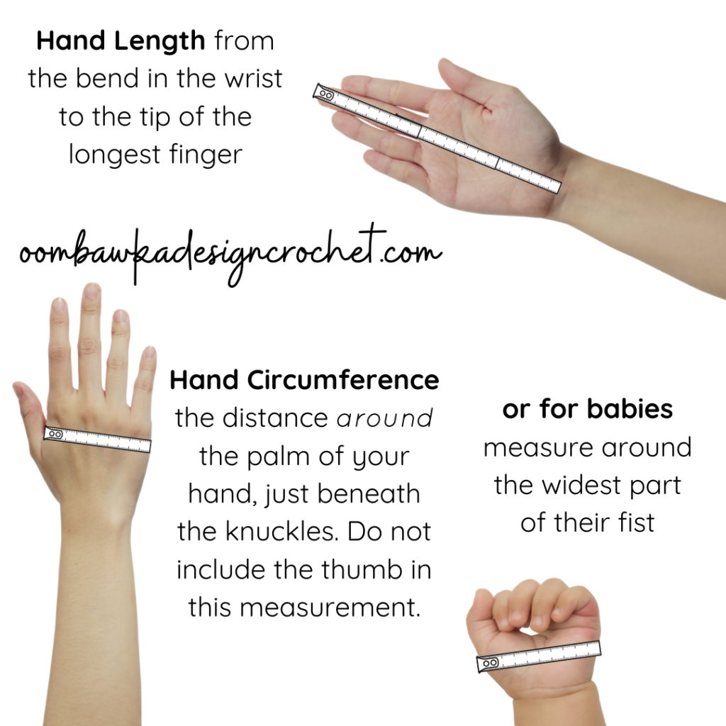 Hand Size Measurements oombawkadesigncrochet