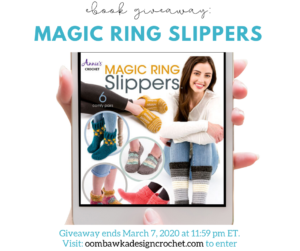 Magic Ring Slippers eBook Giveaway at Oombawka Design Crochet ends March 7 2020 1159 pm ET INSTA