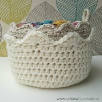 A Touch of Scallop Crochet Basket by Look What I Made