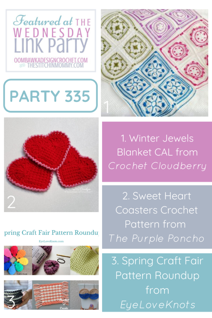 Wednesday Link Party 335 Features Winter Jewels, Sweet Hearts And Spring Craft Fair Crochet Patterns