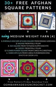 30 Free Crochet Afghan Square Patterns Using Medium Weight Yarn Free Pattern Friday at Oombawka Design Crochet