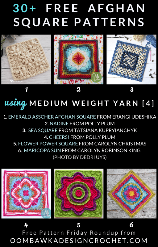 30 Free Crochet Afghan Square Patterns Using Medium Weight Yarn Free Pattern Friday at Oombawka Design Crochet