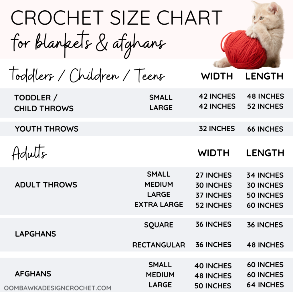 Adult afghan and blanket size chart plus baby blanket measurements and preemie receiving blanket sizes.
