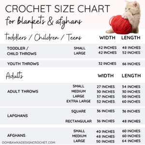 Adult afghan size chart plus baby size charts and preemie size charts