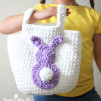 Easy Easter Crochet Basket Pattern featured at Free Pattern Friday with Oombawka Design