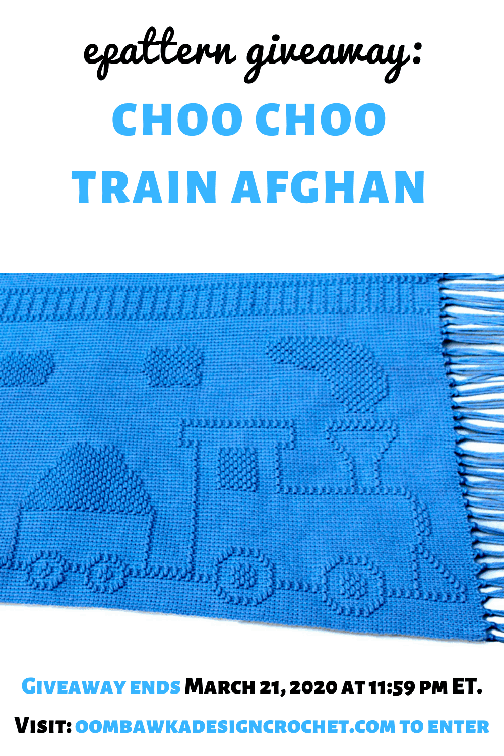 Choo Choo Train Afghan ePattern from Carol Hegar at Shady Lane Original Crochet Designs. 🚂 Book Review and Giveaway at Oombawka Design Crochet. Ends March 21, 2020 at 11:59 pm ET. 🚂 The Choo Choo Train Afghan is perfect for any train enthusiast and includes an old fashioned steam engine, coal car, box car, caboose, train signals and train tracks.