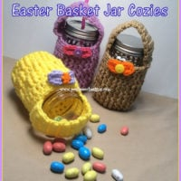 Easter Basket Jar Cozy Featured at Free Pattern Friday