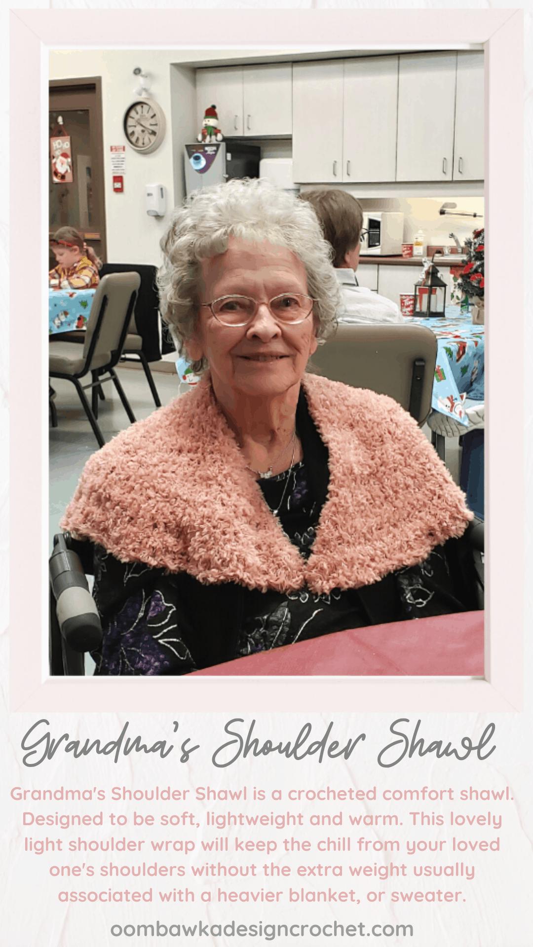 Grandma\'s Shoulder Shawl. Soft, lightweight and warm. Free Crochet Pattern. #redheartyarn #joycreators #yarnspirations #freepattern #shawl #wrap #crochet #comfortshawl