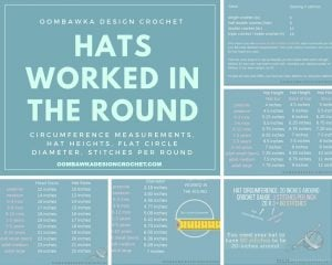 Hats Worked in the Round. Measurements, Hat Heights, Flat Circle Diameter, Stitches Per Round. Oombawka Design Crochet