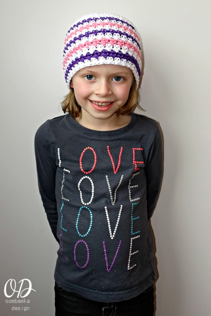 Sweetly Serene Hat 6-10 year size Free Pattern