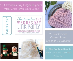Wednesday Link Party 337 Features St. Patrick's Day Finger Puppets, Winter Jewels Cushion and Daphne Beanie