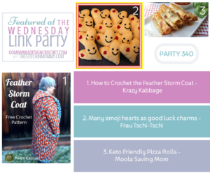 Wednesday Link Party 340 Features Crochet Feather Storm Coat, Keto Pizza Rolls and Emoji Heart Good Luck Charms FB