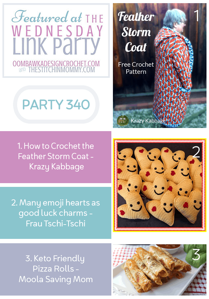 Wednesday Link Party 340 Features Crochet Feather Storm Coat, Keto Pizza Rolls and Good Luck Emoji Heart Charms PIN