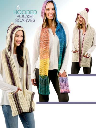 Back Cover Hooded Pocket Scarves Annies Craft Store Book Review by Rhondda Mol