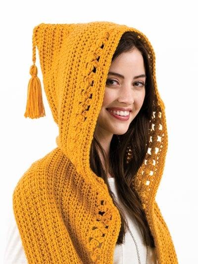 Briar Rose Hooded Scarf Pattern - Hooded Pocket Scarves - Annie's Craft Store