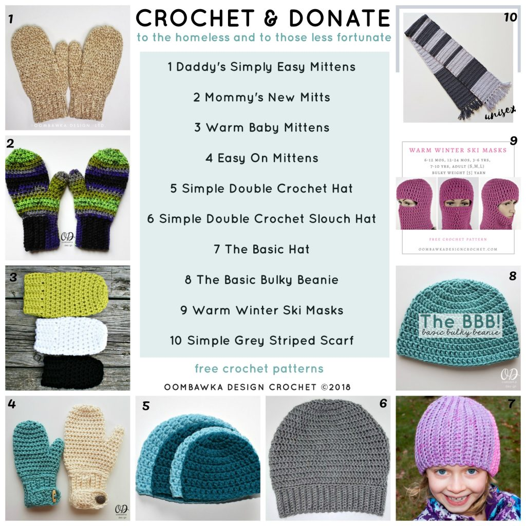 Crochet and Donate to the Homeless and to Those Less Fortunate Free Crochet Patterns available Oombawka Design Crochet