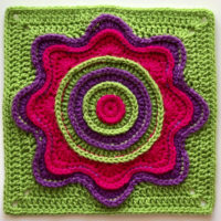 Flower Power Square Pattern - Featured at Free Pattern Friday - Oombawka Design