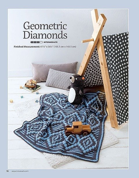 Geometric Diamonds Afghans For The Family Leisure Arts Book Review Oombawka Design