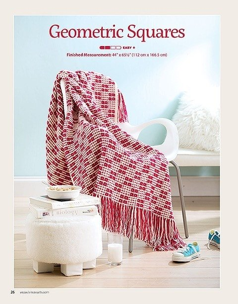 Geometric Squares Afghans For The Family Leisure Arts Book Review Oombawka Design